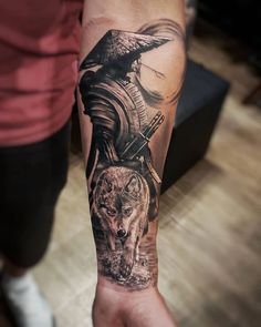 Coolest Forearm Tattoo Men Sleeve Trend For You ~ Magazzine Fashion Warrior Tattoo Sleeve, Samurai Tattoo Sleeve, Samurai Warrior Tattoo, Wolf Tattoo Sleeve, Dragon Sleeve Tattoos, Warrior Tattoos, Tattoo Ink, Wolf Tattoo Shoulder, Egyptian Tattoo Sleeve