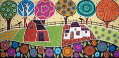 RUG-HOOK-PAPER-PATTERN-Blooming-Farm-FOLK-ART-Karla-G