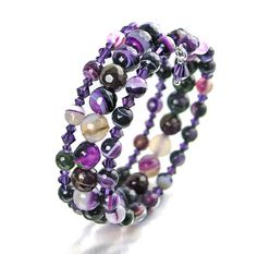 Purple Beaded Bracelet Agate Gemstone Bracelet by DorotaJewelry