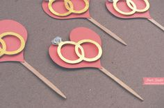 Double Wedding Ring Heart Cupcake Toppers Party by HuesStudio, $11.00