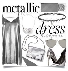 """Metallic Dress"" by zoeysunday ❤ liked on Polyvore featuring River Island, Skinnydip, Loeffler Randall, BERRICLE, Burberry, Kendall + Kylie and Christian Dior"