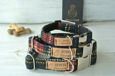 Harris Tweed Dog Collars, Black and red Tartan  Dog collar,Traditional Tartan Tweed Dog Collar. Designer dog collar by HWRDesigns on Etsy https://www.etsy.com/listing/275329198/harris-tweed-dog-collars-black-and-red