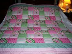 Handmade Baby John Deere Girl's Madras Plaid And Flowers Cotton Baby/Toddler Quilt-Newly Made 2015 by quilty61 on Etsy