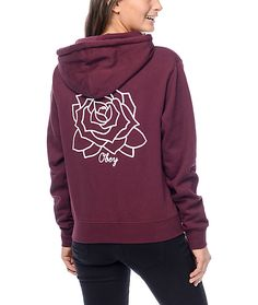 Prepare for chilly nights with the Mira Mosa hoodie from Obey.  A bold, white lined rose print is featured on the left chest of this burgundy hoodie and duplicated on the back with the Obey brand logo underneath. A perfect hoodie to throw on when chilled
