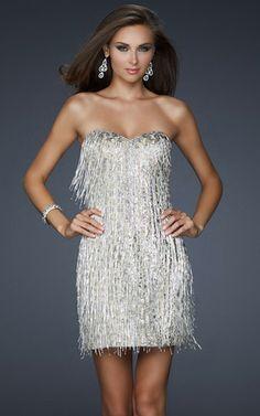 La Femme 17529 Tassels Silver Strapless Homecoming Dresses