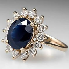 Estate Dark Blue Sapphire & Diamond Halo Ring 14K Gold