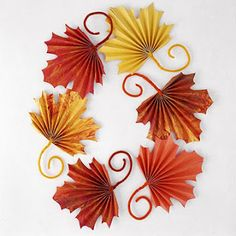 for Fall: Fan-Folded Leaves for Kids to Craft for Thanksgiving Kids will enjoy making these colorful paper leaves for Thanksgiving or harvest decorating. Scatter leaves on a table or wrap the stems around heavy cording to make a pretty garland. Thanksgiving Crafts For Kids, Autumn Crafts, Thanksgiving Decorations, Holiday Crafts, Holiday Fun, Thanksgiving Table, Harvest Crafts, Fall Decorations, Fall Leaves Crafts