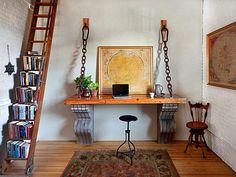 wooden ladder used as a bookshelf! HGTV's Design Happens blog...