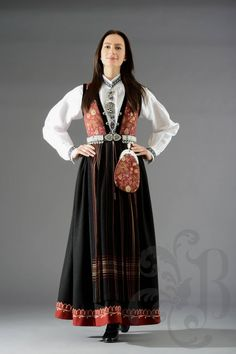 Sognebunad i raud for dame. Traditional clothing from Sogn, Sogn og Fjordane, Norway. Wearing this for my wedding ceremony.