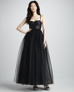 Ona Leather-Bustier Gown by Alice + Olivia at Bergdorf Goodman.  since they dont make it in white...maybe to my funeral??  i love this dress