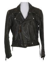 50s Black Langlitz Leathers Columbia Biker Jacket, features zip sleeves, belt…