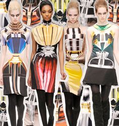 Digital Print - Mary Katrantzou digital prints, Designer who has used digital print in a very bold and new way. These garments show how design can be put onto garments to change the shape of the body.  https://www.marykatrantzou.com/biography