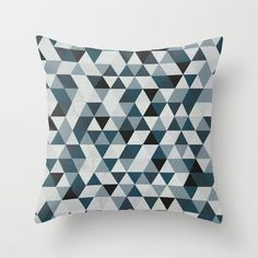 Sea Blue and Grey / Gray - Hipster Geometric Triangle Pattern 02 Throw Pillow by PELAXY - Cover x with pillow insert - Throw Cushions, Couch Pillows, Designer Throw Pillows, Down Pillows, Accent Pillows, Fluffy Pillows, Triangle Pattern, Pillow Design, Pillow Inserts