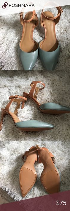 NIB Nine West tan/blue ankle strap sandal Brand new never worn! Tan and blue ankle strap heels by Nine West. Size 7.5 Nine West Shoes Heels
