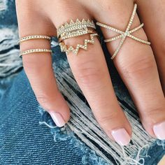 Everyday essentials..frayed denim and diamond EF Collection rings!