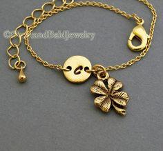 Four leaf clover bracelet, lucky charm, antique gold, initial bracelet, friendship, mothers, adjustable, monogram
