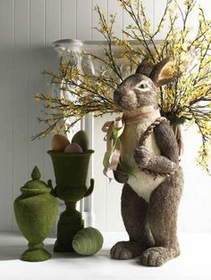 Big Bunny with Forsythia Branches