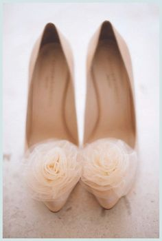 Blush Beauties:: Gorgeous high heels finished with a romantic tulle flower on each toe