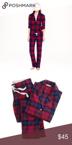 "EUC J.Crew Flannel PJ Set in Bright Cerise Plaid No more stealing his pajamas. Cotton. Long sleeves. Chest pocket. Elastic waistband with drawstring on pant. Top hits at hip. Wide leg. 32 1/2"" inseam. J. Crew Intimates & Sleepwear Pajamas"