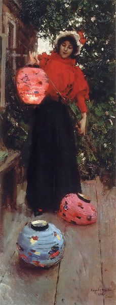 Woman holding colorful paper chinese lanterns by Konstantin Korovin