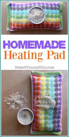 Make your own heating pad with uncooked rice and a washcloth or other small piece of fabric. They last for years and work to soothe sore muscles and menstrual cramps! homemade heating pad, heating pad, rice heating pad, DIY heating pad