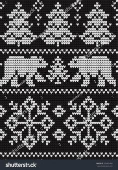 Knitted Christmas New Year Pattern arkistovektori (rojaltivapaa) 526065460