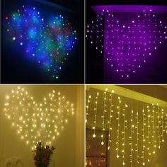 128 led #heart #curtain string fairy wedding christmas lights #halloween party do,  View more on the LINK: http://www.zeppy.io/product/gb/2/291599425127/