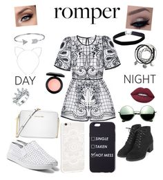 """Day to Night: Rompers"" by kenz12399 on Polyvore featuring Topshop, Steve Madden, Miss Selfridge, Lime Crime, MAC Cosmetics, Bling Jewelry, Michael Kors, Revo, Cara and DayToNight"