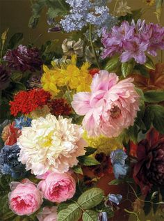 slojnotak: 1840Arnoldus Bloemers (Dutch; 1792-1844) ~Lilacs, Peonies, Tulips, Roses, Irises and other Flowers with Fruit and a Bird's Nest on a Marble Ledge