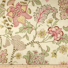 Screen-printed on a linen/rayon blend fabric, this versatile medium/heavyweight fabric is perfect for window treatments (draperies, valances, curtains and swags), toss pillows, duvet covers, pillow shams, slipcovers and upholstery. Colors include rose pink, berry, sage, gold and cream.