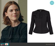 Maia's black bow jacket on The Good Fight. Outfit Details: https://wornontv.net/92802/ #TheGoodFight
