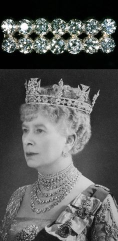 The 14 Diamond Bar Brooch. Queen Mary (1867-1953) used a brooch with 14 diamonds set in two even rows of 7, but it is unclear whether it was created specifically for her or if it has another provenance entirely. Below: Queen Mary using the brooch to secure her sash, purely as a decorative brooch, and on the shoulder of her sash. https://www.royalcollection.org.uk/collection/search#/44/collection/2808204/queen-mary-1867-1953 http://carrolltrustcase.com/uncategorized/50248/