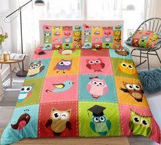 Kids Owl Cartoon Bedding Set