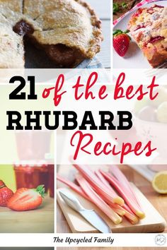 Looking for great rhubarb recipes? Here are 21 of the best rhubarb recipes. Rhubarb jam, rhubarb crisp, rhubarb pie and so much more. Side Dish Recipes, Lunch Recipes, Real Food Recipes, Breakfast Recipes, Yummy Recipes, Baking Recipes, Dinner Recipes, Yummy Snacks, Healthy Desserts
