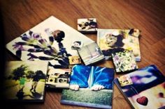 Photo tiles  These tiles are cute and really easy to make.    You will need:    Tiles -  can be be bought from any bathroom tile shop  Scissors  Modge Podge or water soluble glue  Printed photos resized to the size of your tile  Paintbrush     Clean tile surface, coat the back of your image in glue and stick onto the tile, let tiles dry for an hour, attach stick-on hook on the back and hang!