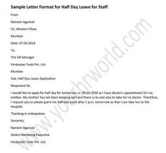 Sample leave of absence letter everything pinterest career announcement letter format for half day leave for staffs altavistaventures