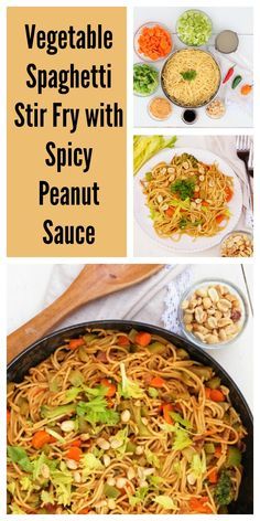 Vegetable Spaghetti Stir Fry with Spicy Peanut Sauce @shawsimpleswaps ...