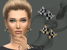 Black onyx flower earrings.  Found in TSR Category 'Sims 4 Female Earrings'