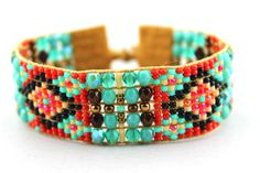 Beaded Loom Bracelet with Turquoise, Rust and Bronze Fire Polished Crystals by LiTelleJewelry on Etsy https://www.etsy.com/listing/189351733/beaded-loom-bracelet-with-turquoise-rust