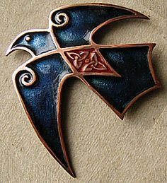 Champleve enamel Celtic Crow with cloisonne details