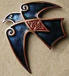 Champleve enamel Celtic Crow with cloisonne details