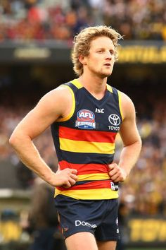 Rory Sloane of the Crows looks dejected after defeat during the 2017 AFL Grand Final match between the Adelaide Crows and the Richmond Tigers at. Hot Rugby Players, Male Athletes, Athletic Men, Sport Man, Crows, Tigers, Finals, Balls, Hot Guys