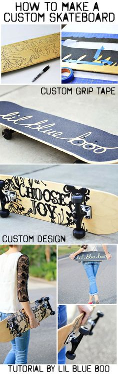 How to make and paint a custom skateboard (custom grip tape to custom design) Great birthday party idea, Christmas gift, etc. via lilblueboo...