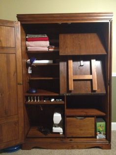 Sewing Cabinet With Table Folded Up