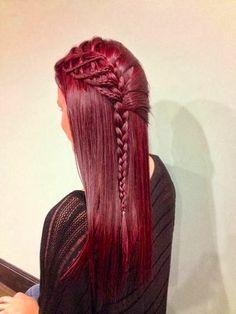 red braid fairytale braid beautiful