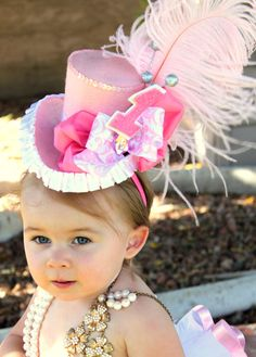 "Mini Top Hat  ""ADDIE ROSE""  Top Hat - First Birthday - EASTER - Sugar and Spice - Girl Birthday- Sweet Shoppe - Bridal - Krown Kreations"