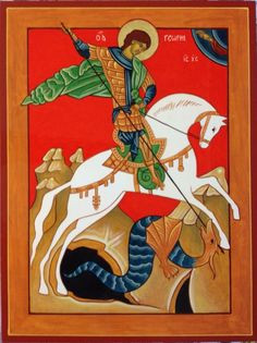 St. George and the Dragon Icon  Russian Style  August 2012