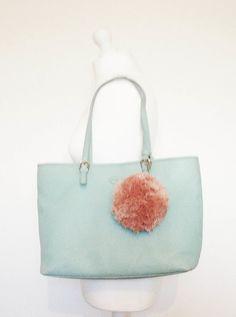 Pale Pink Large Pom Pom Bag Charm Handmade By Grace Cook