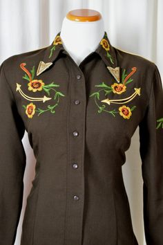 40's Western Shirt California Ranch Wear H bar C
