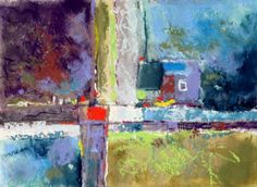 Portland Winterscape Four, abstract pastel painting   Carol Engles